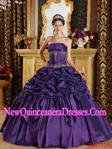 Eggplant Purple With Pick-ups Taffeta New Style Quinceanera Dress