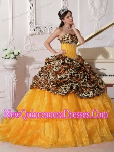 Fashionable Orange Sweetheart Sweep Train Leopard and Organza Quinceanera Dress with Appliques