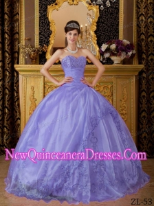 Lilac Fashionable Sweetheart Floor-length Organza Quinceanera Dress with Appliques