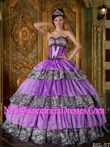 Luxurious Ball Gown Sweetheart With Zebra Ruffles New Style Quinceanera Dress