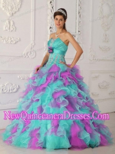 Multi-color Ball Gown With Organza Appliques and Hand Flower New Style Quinceanera Dress
