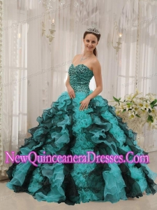 Multi-colored Sweetheart With Organza Beading New Style Quinceanera Dress