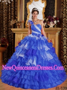 New Style Quinceanera Dress In Blue and White With One Shoulder Ruffles and Beading