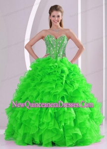 Perfect Ball Gown Ruffles and Beading 2013 winter Quinceanera Dresses with Lace up