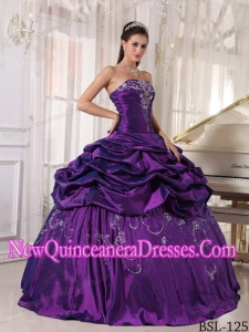 Perfect Ball Gown Strapless Floor-length Taffeta Embroidery With Beading Quinceanera Dress