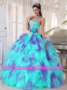 Perfect Ball Gown Sweetheart Organza Floor-length Appliques Quinceanera Dress