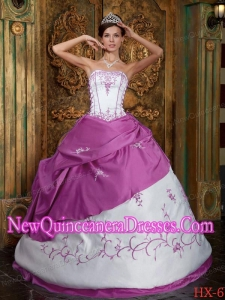 Perfect Fuchsia and White Strapless Floor-length Embroidery Satin Quinceanera Dress