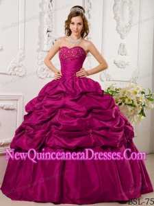 Perfect Hot Pink Ball Gown Sweetheart Floor-length Tafftea Appliques Quinceanera Dress
