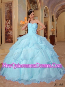 Perfect Light Blue Ball Gown Sweetheart Floor-length Organza Beading Quinceanera Dress