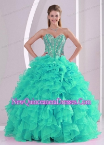 Plus Size Fall Ball Gown Sweetheart Ruffles and Beaded Decorate Turquoise Quinceanera Dresses