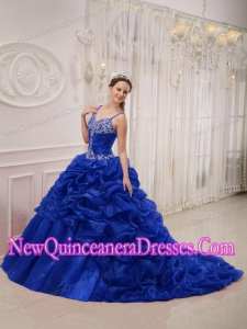 Royal Blue Spaghetti Straps Court Train Organza Beading Luxurious Quinceanera Dresses