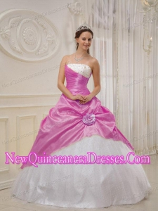 Strapless Floor-length Lilac and White Taffeta and Tulle Beading Fashionable Quinceanera Dress