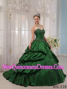 Taffeta Green Ball Gown Sweetheart Court Train Appliques Fashionable Quinceanera Dress