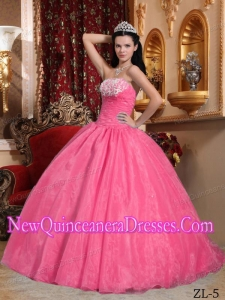 Watermelon Ball Gown Strapless Appliques Elegant Quinceanera Dress