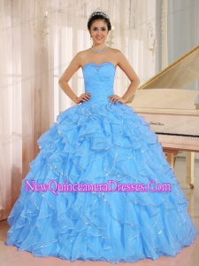 2013 Ruffles and Beaded For Aqua Blue New Style Quinceanera Dress Custom Made