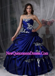 A Ball Gown Strapless Taffeta Appliques Simple Quinceanera Dresses