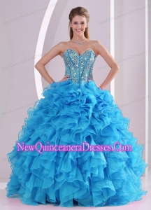A Blue Sweetheart Organza 2014 Simple Quinceanera Dresses with Fitted Waist