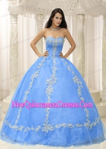 A Blue Sweetheart With Appliques and Beaded Decorate For 2013 New Style Quinceanera Dress
