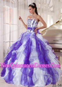 A Colorful Strapless Organza Beading Simple Quinceanera Dresses