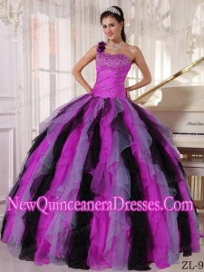 A Multi-colored One Shoulder Organza Beading and Ruffles Simple Quinceanera Dresses