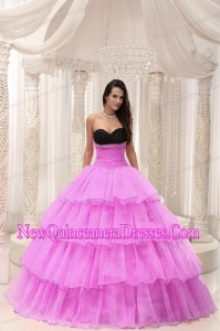 A Rose Pink Sweetheart With Beaded and Layers New Style Quinceanera Dress