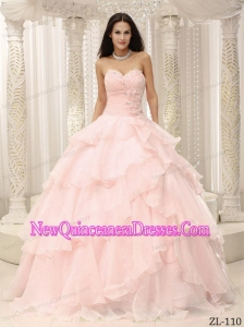 A Ruched With Hand Made Flowers Decorate Waist For Simple Quinceanera Dresses