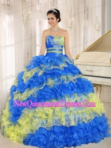 A Stylish Multi-color 2013 New Style Quinceanera Dress With Appliques Sweetheart