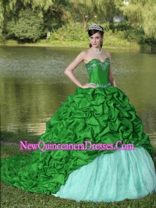 Appliques and Pick-ups Fashionable Green Brush Train Exquisite Style For 2013 Quinceanera Dress