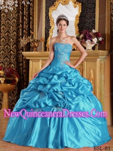 Aqua Blue Ball Gown Strapless Floor-length Pick-ups Taffeta Quinceanera Dress