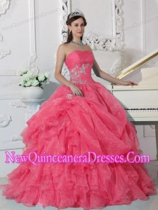 Ball Gown Fashionable Strapless Floor-length Organza Beading Quinceanera Dress in Red