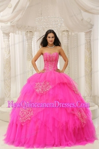 Fashionable Custom Made Hot Pink Sweetheart Embroidery For Quinceanera Wear In 2013