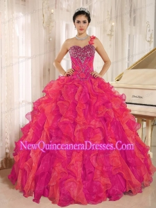 Fashionable Red One Shoulder Beaded Decorate Ruffles Quinceanera Dress In Spring