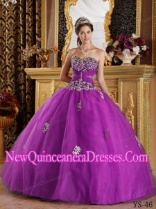 Fuchsia Ball Gown Sweetheart Floor-length Appliques Tulle Quinceanera Dress