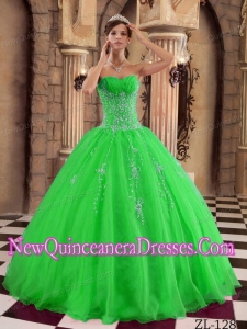 Green Ball Gown Floor-length Organza Beading Quinceanera Dress