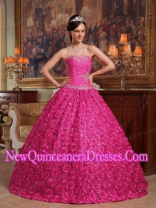 Hot Pink Ball Gown Strapless Floor-length Fabric With Roling Flowers Appliques Quinceanera Dress