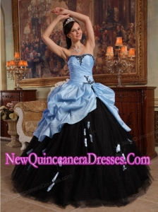 Lilac and Black Sweetheart Fashionable Hand Flowers Tulle and Taffeta Quinceanera Dress