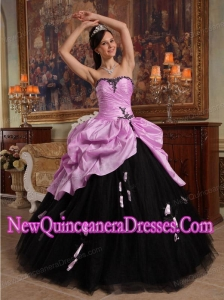 Luxurious Ball Gown Sweetheart Hand Flowers Tulle and Taffeta Quinceanera Dress in Pink and Black