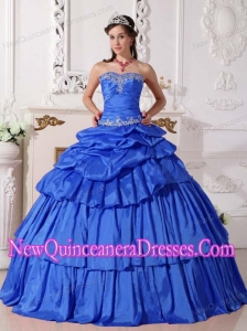 Luxurious Blue Ball Gown Taffeta Beading and Ruching Quinceanera Dresses