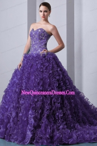 Luxurious Purple A-Line Sweetheart Brush Train Organza Beading and Ruffles Quinceanea Dress