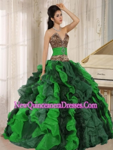 Multi-color Luxurious Quinceanera Dresses V-neck Ruffles With Leopard and Beading