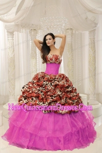 Organza Leopard Fashionable Quinceanera Dress With Beaded Decorate
