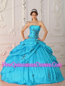 Perfect Aqua Blue Ball Gown Strapless Floor-length Taffeta Appliques Quinceanera Dress