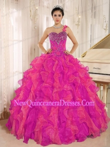 Perfect Custom Made Corala Red One Shoulder Beaded Decorate Ruffles Quinceanera Dress In Spring