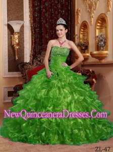 Perfect Green Ball Gown Strapless Floor-length Organza Beading Quinceanera Dress