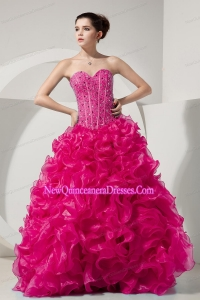Perfect Hot Pink A-line Princess Sweetheart Floor-length Organza Beading Prom Dress