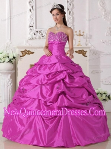 Perfect Hot Pink Ball Gown Sweetheart Floor-length Taffeta Beading Quinceanera Dress