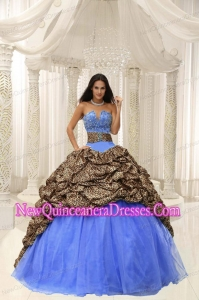 Perfect Leopard and Organza Beading Decorate Sweetheart Neckline Quinceanera Dress