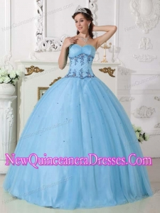 Perfect Light Blue Ball Gown Sweetheart Floor-length Tulle and Taffeta Beading Quinceanera Dress