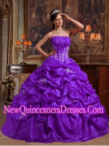 Perfect Purple Ball Gown Strapless Floor-length Appliques Taffeta Quinceanera Dress