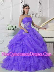 Perfect Purple Ball Gown Strapless Floor-length Organza Beading Quinceanera Dress